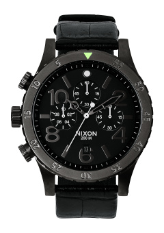 Nixon 48-20 Men's Black Leather Strap Watch A363-1886