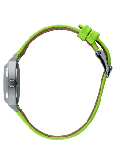 Nixon Small Time Teller Women's Neon Yellow Leather Strap Watch A509-2080 - 3