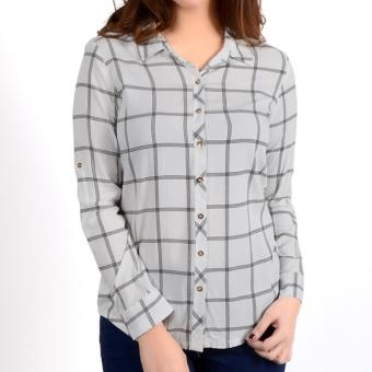 No Apologies Checkered Rayon L/S Polo Nft04-0307 (O.White)