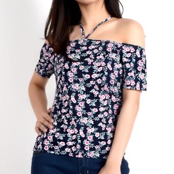 No Apologies Printed Rayon Off Shoulder Blouse Nlt04-1764 (N.Blue)