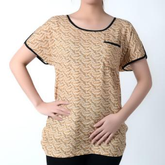 No Apologies Woven Short Sleeves Blouse NFT04-0263 (Brown)