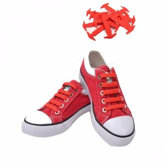 No Tie Silicone Shoe Laces Size For Children (Red)