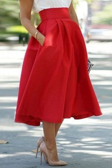 Noble High Waist Pleated Red Ball Skirt for Women (Red) TC - Intl--TC