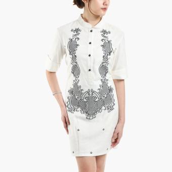 Nuevo Ystilo Ladies Ramie Barong Dress (White)