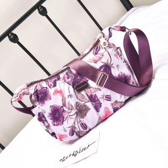Nuobaili Korean-style large capacity ultra-light waterproof cloth bag nylon women's bag (And white purple) (And white purple)