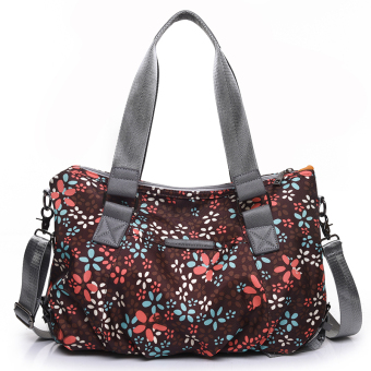 Nuobaili large capacity shoulder bag New style canvas bag (Brown flower printed)