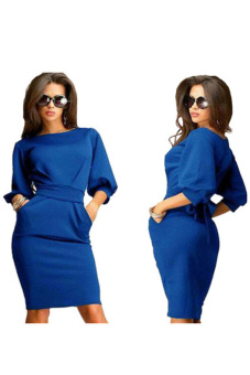 O-Neck Half Sleeve Office Slim Dress (Blue) - picture 2