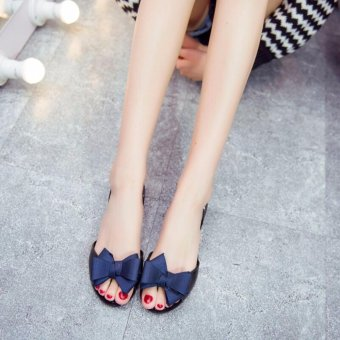 Ocean NEW Ladies bow-tie flat sandals Jelly soft sole fish-mouth shoes(Black and blue ) - intl