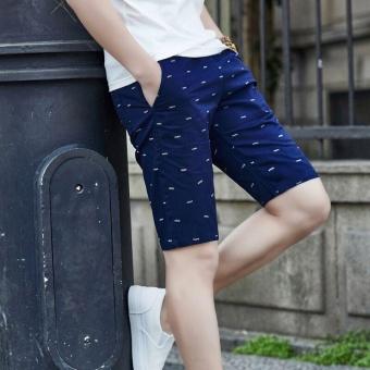 Ocean New Men Fashion Chino Shorts Leisure Teenagers printingCotton shorts(Dark blue) - intl - 2