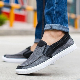 Ocean New Men Fashion Slip On Casual Canvas Sneakers Breathe Shoes(Black) - intl