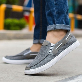 Ocean New Men Fashion Slip On Casual Canvas Sneakers BreatheShoes(Grey) - intl
