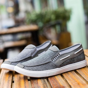 Ocean New Men Fashion Slip On Casual Canvas Sneakers BreatheShoes(Grey) - intl - 5