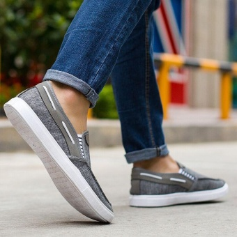 Ocean New Men Fashion Slip On Casual Canvas Sneakers BreatheShoes(Grey) - intl - 3