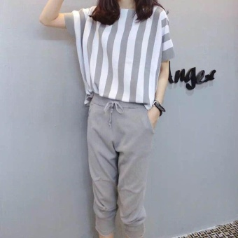 Ocean New Women Fashion Plus Size 2 Pieces Stripe Loose Show thinTops+Pants(Grey) - intl