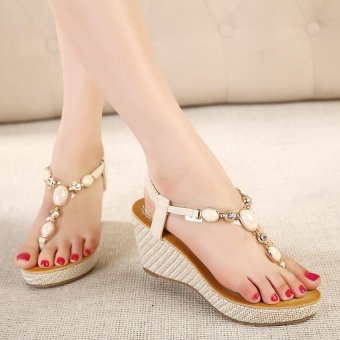 Ocean New Women Fashion Wedge Sandals Sweet Toe clip Shoes(Apricot)- intl