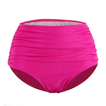 Odd color shell retro black color small yards Plus-sized pleated pants triangle swimming trunks (Rose color)