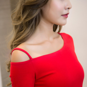 Off-the-shoulder T-shirt long-sleeved Top (Red long-sleeved)