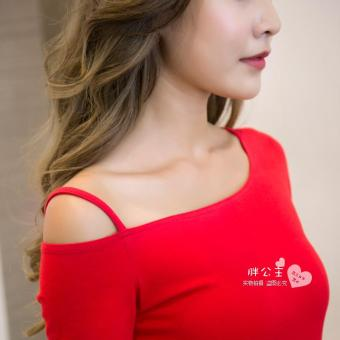 Off-the-shoulder T-shirt long-sleeved Top (Red short-sleeved)