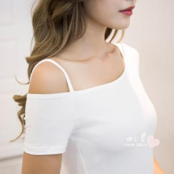 Off-the-shoulder T-shirt long-sleeved Top (White short-sleeved)
