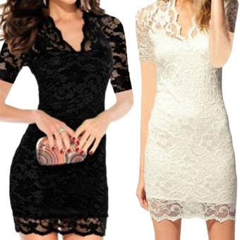 OH Lady Women's Sexy V-neck Short Sleeve Lace Stretch Casual Party Mini Dress White