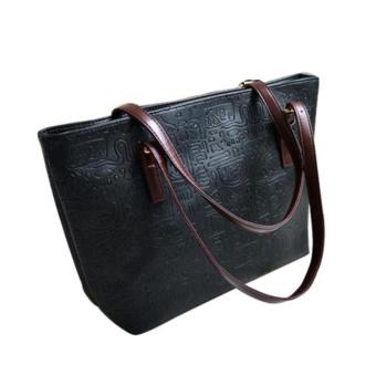 OH Women Lady Vintage Big Purse Bag Tote Fashion Handbag Shoulder PU Leather Black