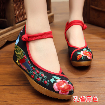 Old Beijing female Chinese clothing shoes cloth shoes (Hong tail Peacock black)