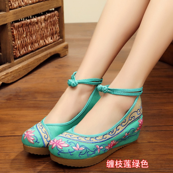 Old Beijing female Chinese clothing shoes cloth shoes (Interlocking Lotus green)