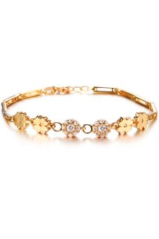 Olen 18K Gold Plated AAA Zircon Clover Flower Bracelet