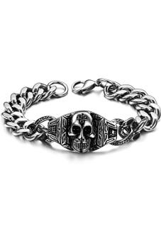 Olen Chunky Titanium Steel Chain with Skull Bracelet (Silver)