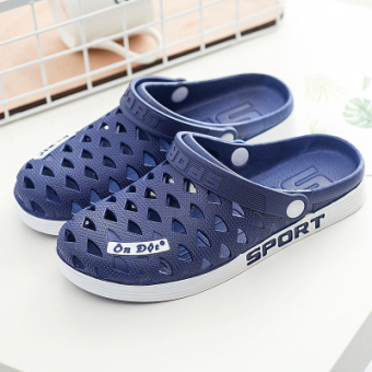 On dot porous home for men and women sandals rubber slippers (Dark blue color)