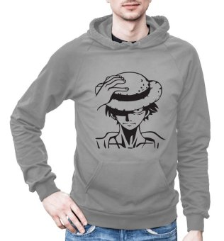 One Piece Anime Hoodies Jacket for Men - Monkey D Luffy (Light Grey)