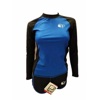 OP FB120 women fashion blue long sleeves rash guard set swimwear