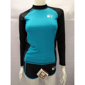 OP FB120 women fashion light blue long sleeves rash guard set with black short cycling swimwear