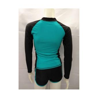 OP FB120 women fashion light green long sleeves rash guard set with black short cycling swimwear - 3