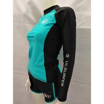 OP FB120 women fashion light green long sleeves rash guard set with black short cycling swimwear - 2