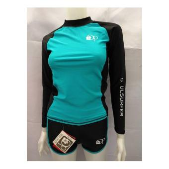 OP FB120 women fashion light green long sleeves rash guard set with black short cycling swimwear