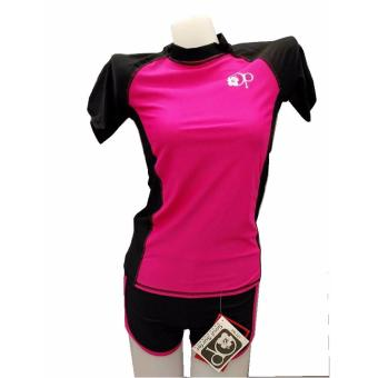 op FB121 women fashion dark pink short sleeves rash guard set swimwear