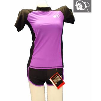 op FB121 women fashion purple short sleeves rash guard set swimwear