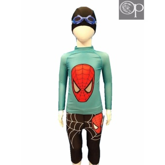 op kid boy AR3001 light blue spider long sleeves rash guard top with cycling bottom rash guard set swimwear