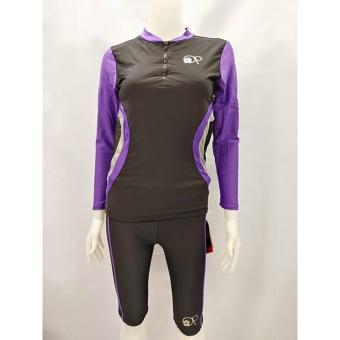 OPJR1602 women fashion violet long sleeves rash guard set with black short cycling swimwear