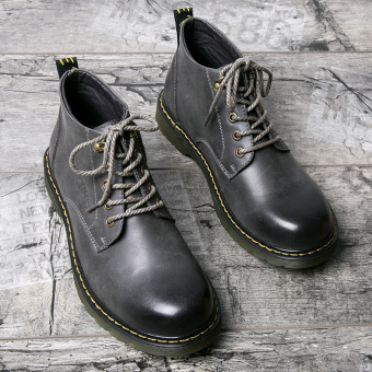 OrpHan version men hight-top black leather shoes Dr. Martens (Gray not elevator)
