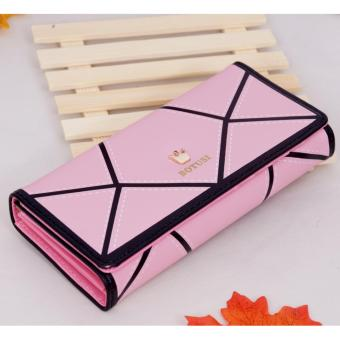 Ostrich Crown Cubes Wallet (Pink)