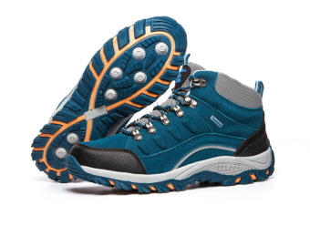 Outdoor Men Shoes Leather Mesh Breathable Anti-Skid Warm Waterproof Hiking Shoes - 5