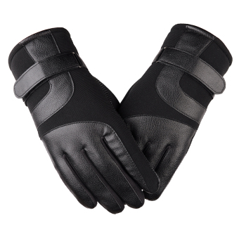 Outdoor Plus velvet men's winter warm gloves leather gloves ([Ordinary models] Black)