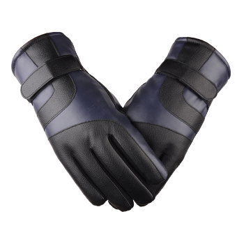 Outdoor Plus velvet men's winter warm gloves leather gloves ([Upgrade section] Blue)