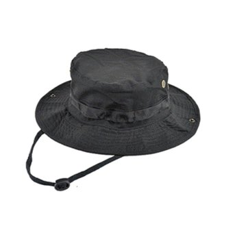 Outdoors Large Brimmed Fishing Hats SUN UV Protection Quick DryingBucket Hat Bonnie Cap for Hiking Camping Traveling Fisherman hatblack - intl