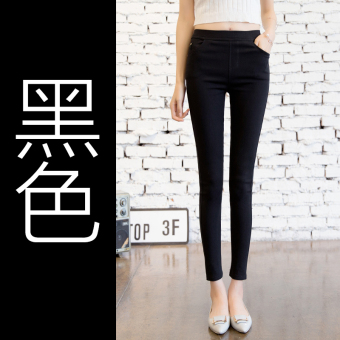 Outerwear Spring and Autumn high-waisted thin pants leggings (Black) (Black)