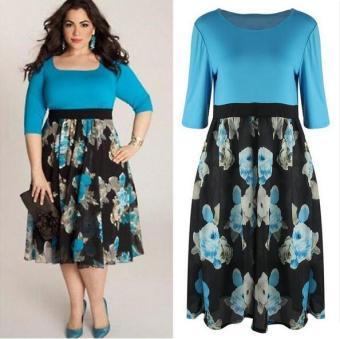 Outlet Big size dress Blue - 2