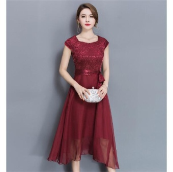 Outlet Large size dress Midi evening dress Burgund - intl