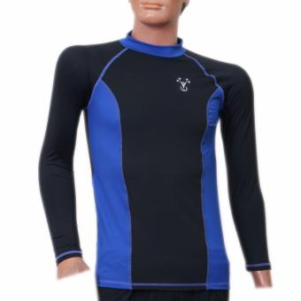 Outperformer Men's Swimming Fishing High Neck Long Sleeve PremiumRashguard with 3D Extra Stretch (Ebony/Blue Allure)